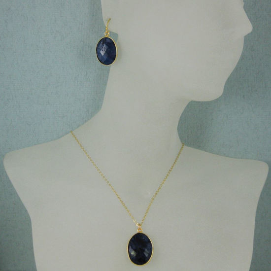 """Wholesale Bezel Gemstone Oval Pendant Necklace & Earrings-Gold Plated-Blue Sapphire Dyed (16-24"""")"""