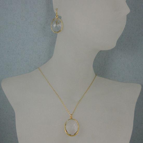 "Wholesale Bezel Gemstone Oval Pendant Necklace & Earrings-Gold Plated-Crystal Quartz (16-24"")"