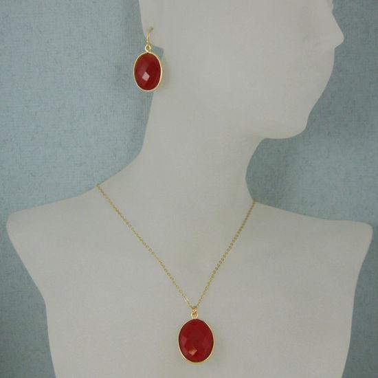 """Wholesale Bezel Gemstone Oval Pendant Necklace & Earrings-Gold Plated-Carnelian (16-24"""")"""