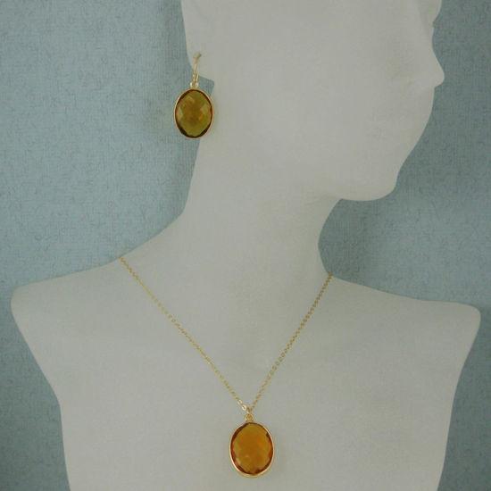 "Wholesale Bezel Gemstone Oval Pendant Necklace & Earrings-Gold Plated-Citrine Quartz (16-24"")"