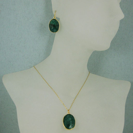 "Wholesale Bezel Gemstone Oval Pendant Necklace & Earrings-Gold Plated-Emerald Dyed (16-24"")"