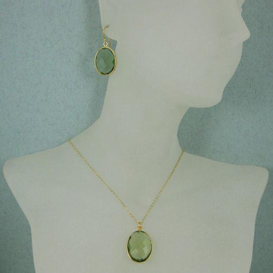 "Wholesale Bezel Gemstone Oval Pendant Necklace & Earrings-Gold Plated-Green Amethyst Quartz (16-24"")"