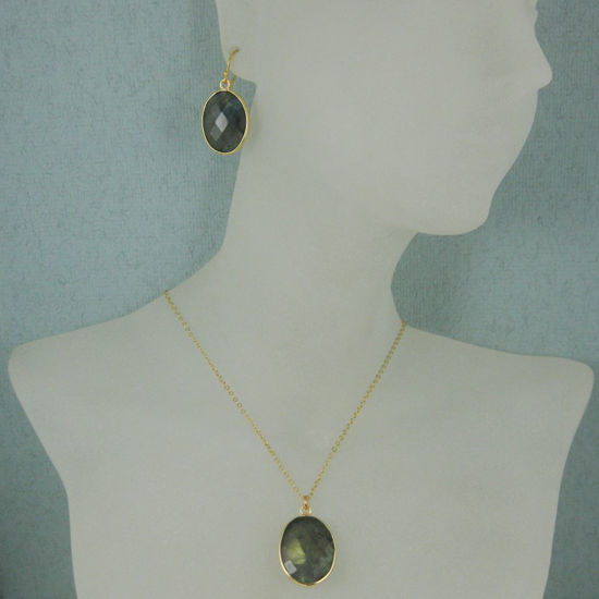 "Wholesale Bezel Gemstone Oval Pendant Necklace & Earrings-Gold Plated-Labradorite (16-24"")"