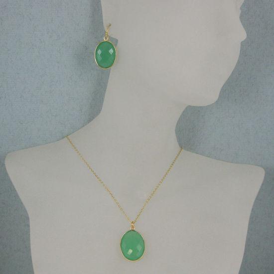 "Wholesale Bezel Gemstone Oval Pendant Necklace & Earrings-Gold Plated-Prenite Chalcedony (16-24"")"