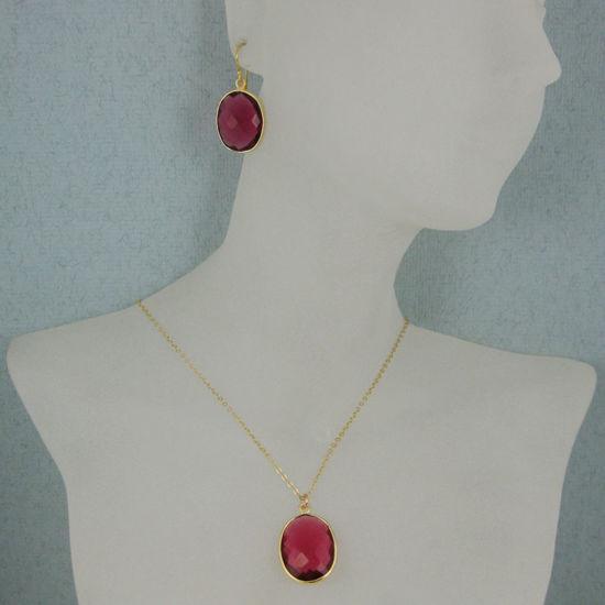 "Wholesale Bezel Gemstone Oval Pendant Necklace & Earrings-Gold Plated-Rubylite Quartz (16-24"")"
