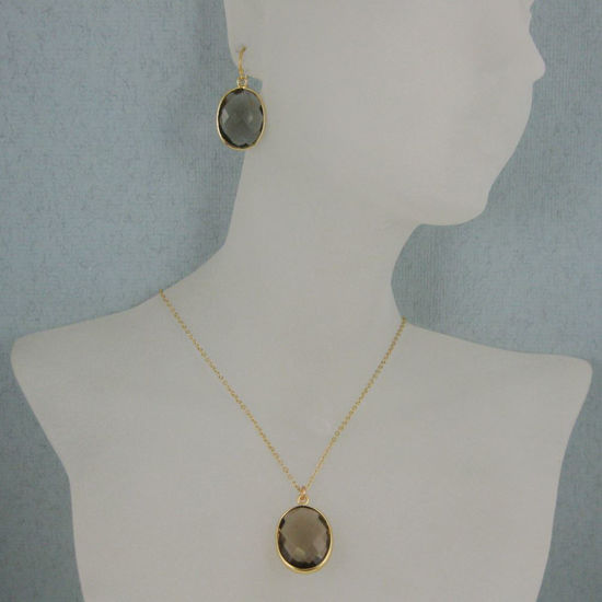 "Wholesale Bezel Gemstone Oval Pendant Necklace & Earrings-Gold Plated-Smoky Quartz (16-24"")"