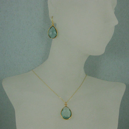 "Wholesale Bezel Gemstone Tear Pendant Necklace & Earrings - Gold Plated - Aqua Quartz (16-24"")"