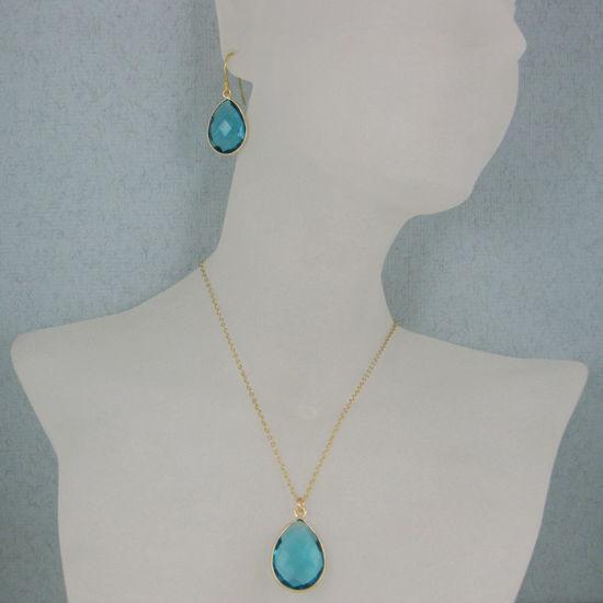 "Wholesale Bezel Gemstone Tear Pendant Necklace & Earrings - Gold Plated - Blue Quartz (16-24"")"