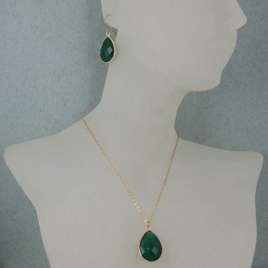 """Wholesale Bezel Gemstone Tear Pendant Necklace & Earrings - Gold Plated - Green Onyx (16-24"""")"""