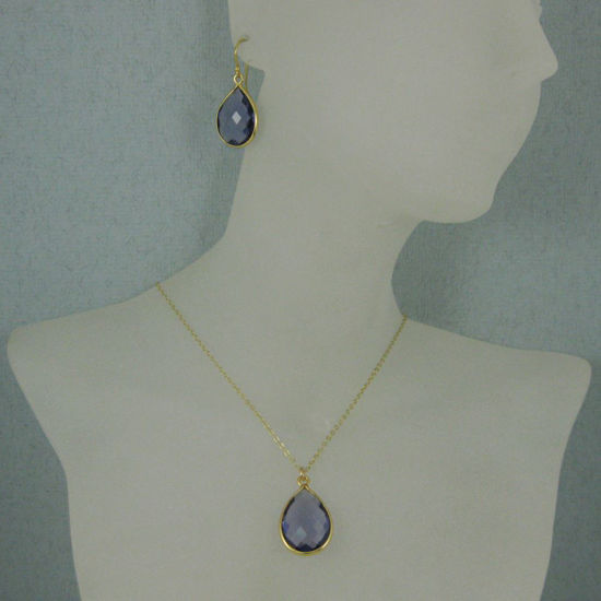 "Wholesale Bezel Gemstone Tear Pendant Necklace & Earrings - Gold Plated - Iolite Quartz (16-24"")"