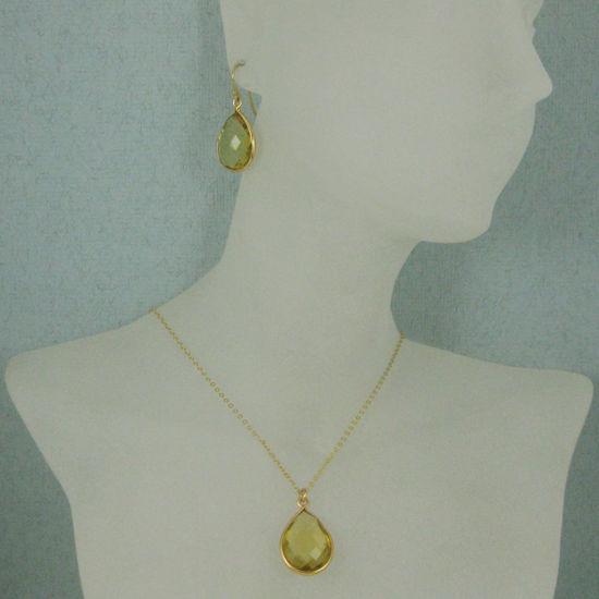 "Wholesale Bezel Gemstone Tear Pendant Necklace & Earrings - Gold Plated - Lemon Quartz (16-24"")"