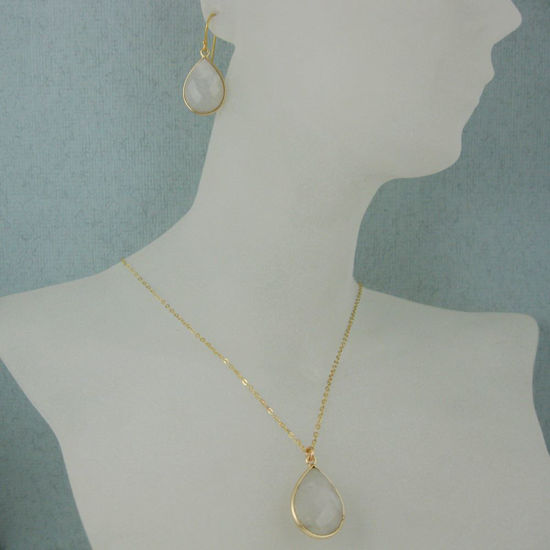 "Wholesale Bezel Gemstone Tear Pendant Necklace & Earrings - Gold Plated - Moonstone (16-24"")"
