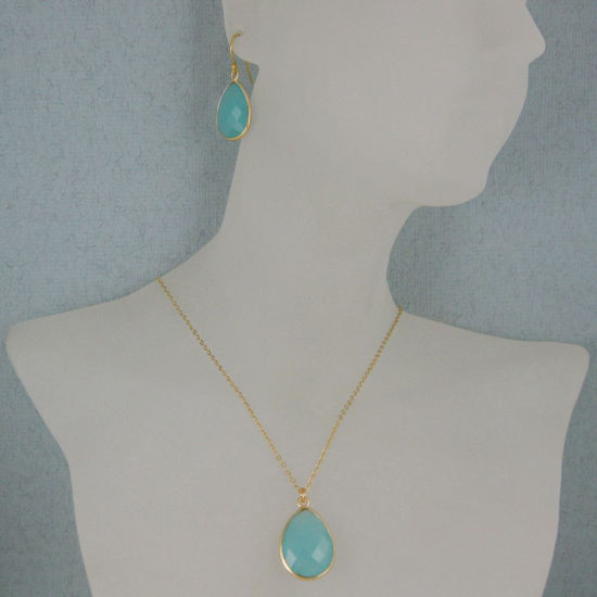 "Wholesale Bezel Gemstone Tear Pendant Necklace & Earrings - Gold Plated - Peru Chalcedony (16-24"")"
