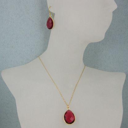 "Wholesale Bezel Gemstone Tear Pendant Necklace & Earrings - Gold Plated - Rubylite Quartz (16-24"")"