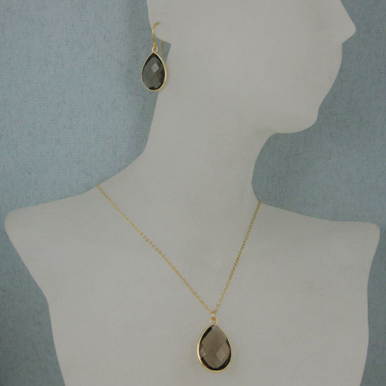 "Wholesale Bezel Gemstone Tear Pendant Necklace & Earrings - Gold Plated - Smoky Quartz (16-24"")"