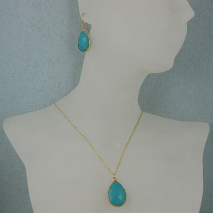 "Wholesale Bezel Gemstone Tear Pendant Necklace & Earrings - Gold Plated - Turquoise (16-24"")"