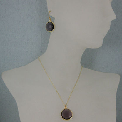 "Wholesale Bezel Gemstone Round Pendant Necklace & Earrings-Gold Plated-Amethyst (16-24"")"