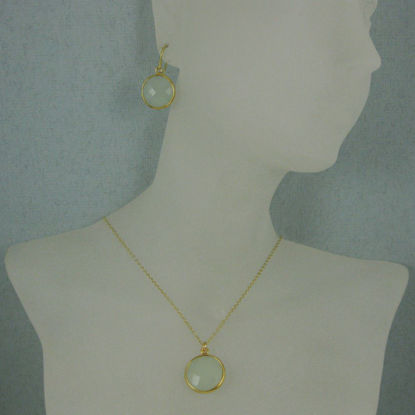 "Wholesale Bezel Gemstone Round Pendant Necklace & Earrings-Gold Plated- Aqua Chalcedony (16-24"")"