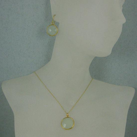 "Wholesale Bezel Gemstone Round Pendant Necklace & Earrings-Gold Plated- Aqua Chalcedony (16-24"")"