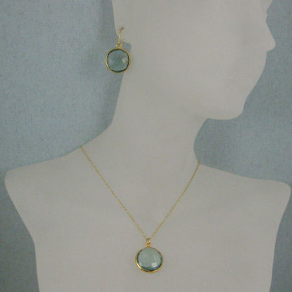 "Wholesale Bezel Gemstone Round Pendant Necklace & Earrings-Gold Plated-Aqua Quartz (16-24"")"