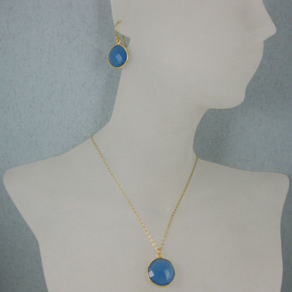 "Wholesale Bezel Gemstone Round Pendant Necklace & Earrings-Gold Plated-Blue Chalcedony (16-24"")"