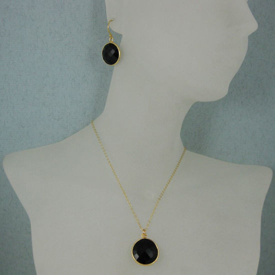 "Wholesale Bezel Gemstone Round Pendant Necklace & Earrings-Gold Plated-Black Onyx (16-24"")"