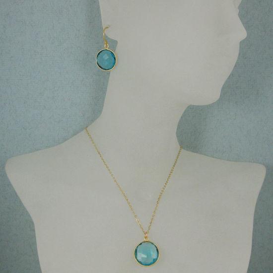 "Wholesale Bezel Gemstone Round Pendant Necklace & Earrings-Gold Plated-Blue Quartz (16-24"")"