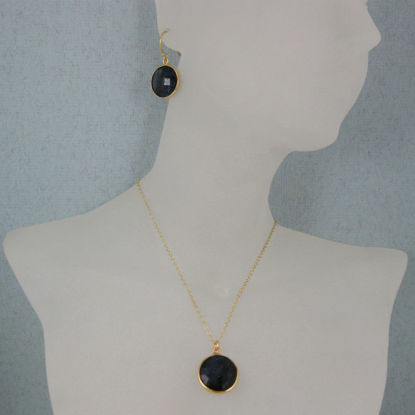 "Wholesale Bezel Gemstone Round Pendant Necklace & Earrings-Gold Plated-Blue Sapphire Dyed (16-24"")"