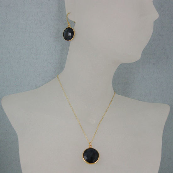 """Wholesale Bezel Gemstone Round Pendant Necklace & Earrings-Gold Plated-Blue Sapphire Dyed (16-24"""")"""