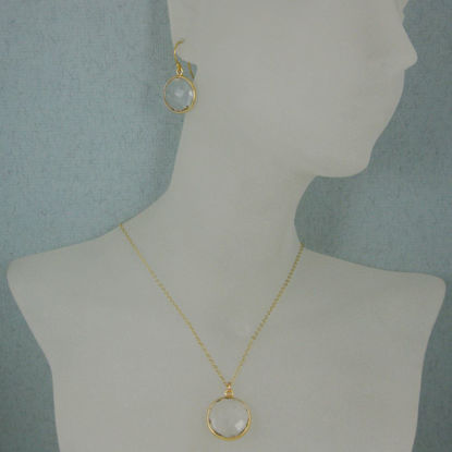 "Wholesale Bezel Gemstone Round Pendant Necklace & Earrings-Gold Plated-Crystal Quartz (16-24"")"