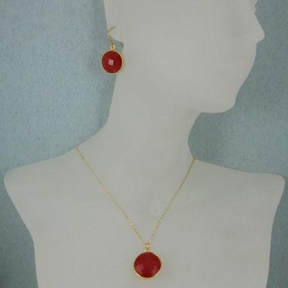 "Wholesale Bezel Gemstone Round Pendant Necklace & Earrings-Gold Plated-Carnelian (16-24"")"