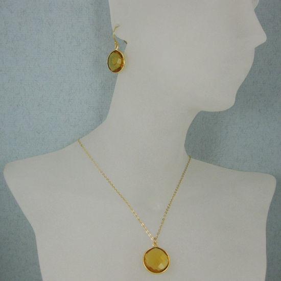 "Wholesale Bezel Gemstone Round Pendant Necklace & Earrings-Gold Plated-Citrine Quartz (16-24"")"