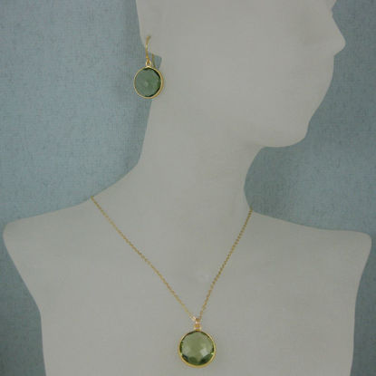 "Wholesale Bezel Gemstone Round Pendant Necklace & Earrings-Gold Plated-Green Amethyst Quartz (16-24"")"