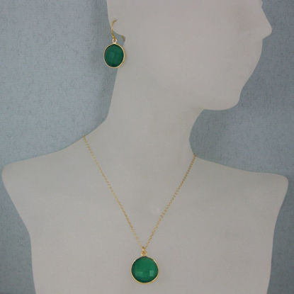"Wholesale Bezel Gemstone Round Pendant Necklace & Earrings-Gold Plated-Green Onyx (16-24"")"