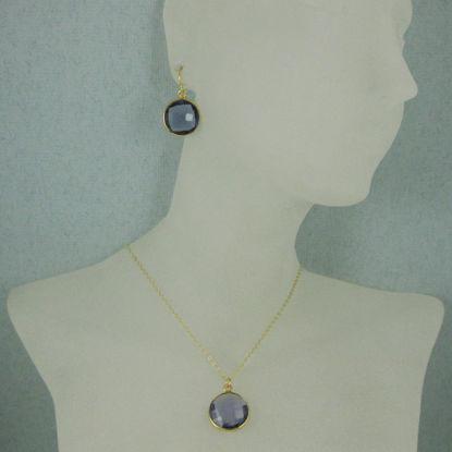 "Wholesale Bezel Gemstone Round Pendant Necklace & Earrings-Gold Plated-Iolite Quartz (16-24"")"