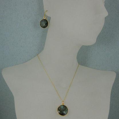"Wholesale Bezel Gemstone Round Pendant Necklace & Earrings-Gold Plated-Labradorite (16-24"")"