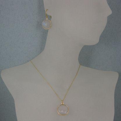 "Wholesale Bezel Gemstone Round Pendant Necklace & Earrings-Gold Plated-Moonstone (16-24"")"