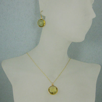 "Wholesale Bezel Gemstone Round Pendant Necklace & Earrings-Gold Plated-Lemon Quartz (16-24"")"