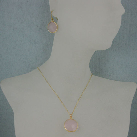 """Wholesale ezel Gemstone Round Pendant Necklace & Earrings-Gold Plated-Pink Chalcedony (16-24"""")"""