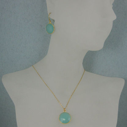 "Wholesale Bezel Gemstone Round Pendant Necklace & Earrings-Gold Plated-Peru Chalcedony (16-24"")"