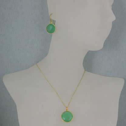 "Wholesale Bezel Gemstone Round Pendant Necklace & Earrings-Gold Plated-Prenite Chalcedony (16-24"")"