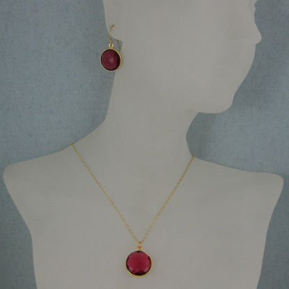 "Wholesale Bezel Gemstone Round Pendant Necklace & Earrings-Gold Plated-Rubylite Quartz (16-24"")"
