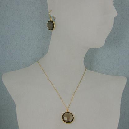 "Wholesale Bezel Gemstone Round Pendant Necklace & Earrings-Gold Plated-Smoky Quartz (16-24"")"
