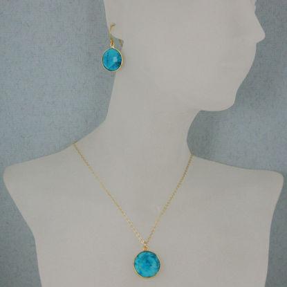 "Wholesale Bezel Gemstone Round Pendant Necklace & Earrings-Gold Plated-Turquoise (16-24"")"