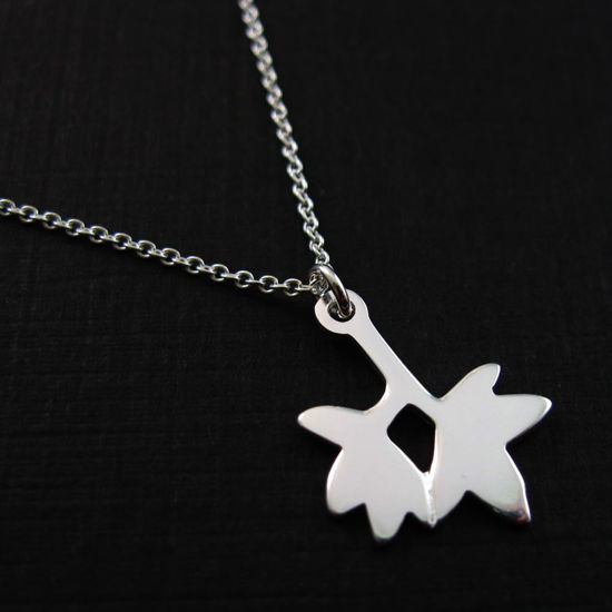 Wholesale .925 Sterling Silver Necklace- Double Leaf Charm Pendant Necklace (16-24 inch)