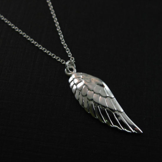 Wholesale 925 Sterling Silver Necklace- Left Wing Charm Pendant Necklace (16-24 inch)