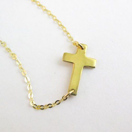 Wholesale 925 Sterling Silver Necklace- 24 K Gold Plated Vermeil- Sideways Cross Charm Pendant- (16-24 inches)
