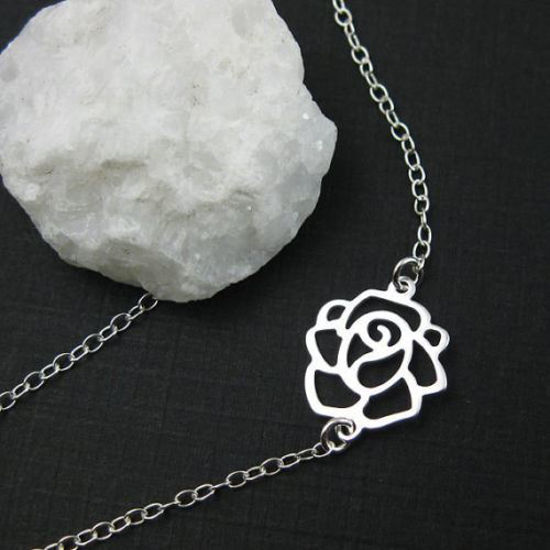 "Wholesale 925 Sterling Silver Necklace with Sweet Rose Pendant (16-24"")"
