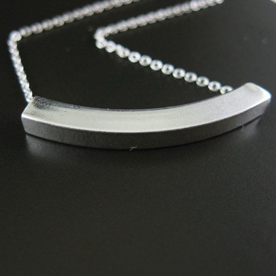 """Wholesale 925 Sterling Silver Necklace - Square Curve Tube Charm (16-24"""")"""