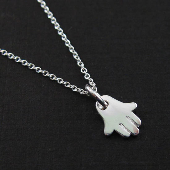 Wholesale 925 Sterling Silver Necklace-Hasma Hand Charm Pendant Necklace (16-24 inch)